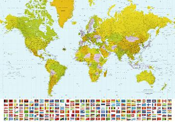Poster para pared - Map of the world Enmarcado de laminas
