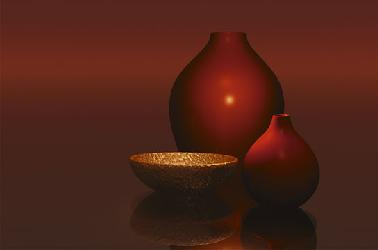 Poster para pared - Red vases whit bowl Marcos y Cuadros