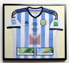 Enmarcado camiseta Argentina con entradas Enmarcado de laminas