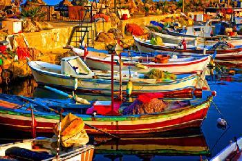 Barcos en el Puerto Enmarcado de laminas
