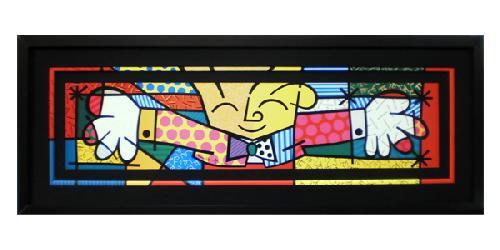 Enmarcado de lamina de Romero Britto, El abrazo Marcos y Cuadros
