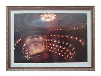 Enmarcado de lamina del Teatro Colon con luz de Neon Marcos y Cuadros