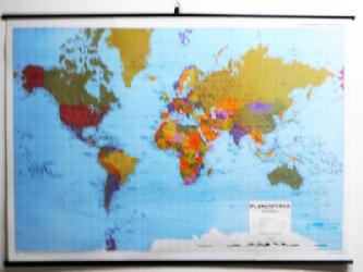 Mapa - Planisferio Fisico Politico Enmarcado de cuadros