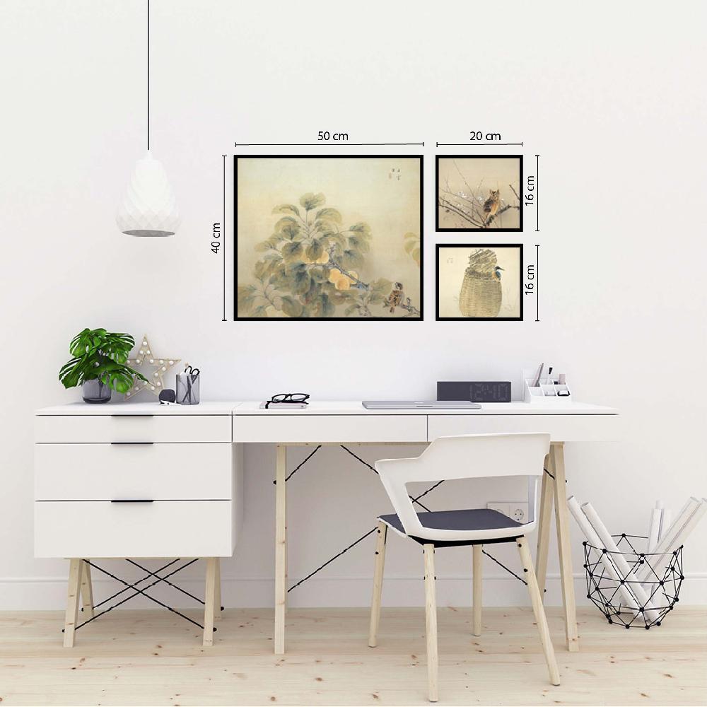 set 3 cuadros pintura japonesa
