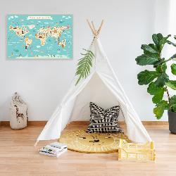 cuadro mapamundi infantil con animales Enmarcado de laminas