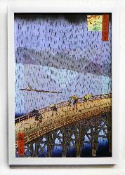 Cuadro El puente y332;hashi en Atake bajo una lluvia repentina Marcos y Cuadros