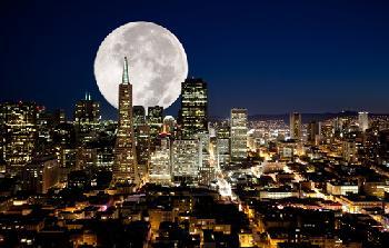 Luna llena sobre San Francisco Enmarcado de cuadros