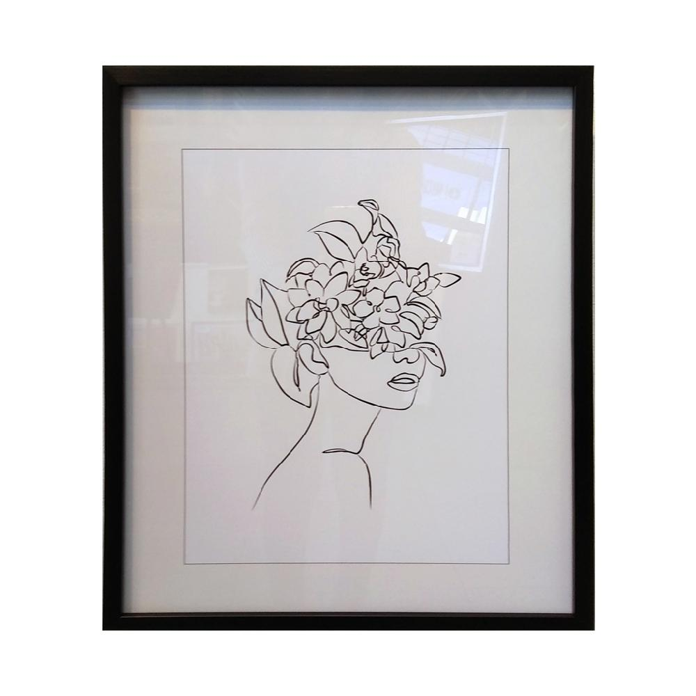 cuadro rostro con flores