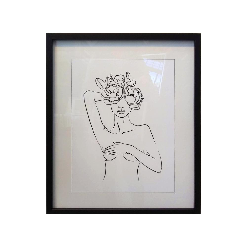 cuadro silueta con flores