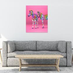 cuadro canvas cebras color Enmarcado de laminas